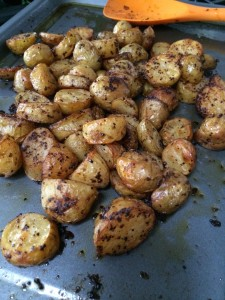 Roast potatoes cooked